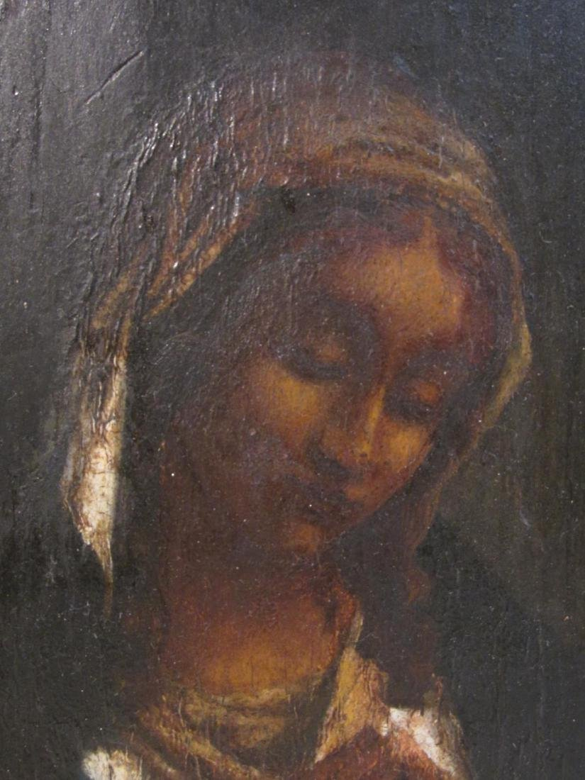 19TH C PAINTING ON PANEL OF THE VIRGIN MARY - 3