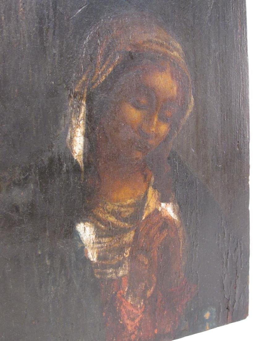19TH C PAINTING ON PANEL OF THE VIRGIN MARY - 4