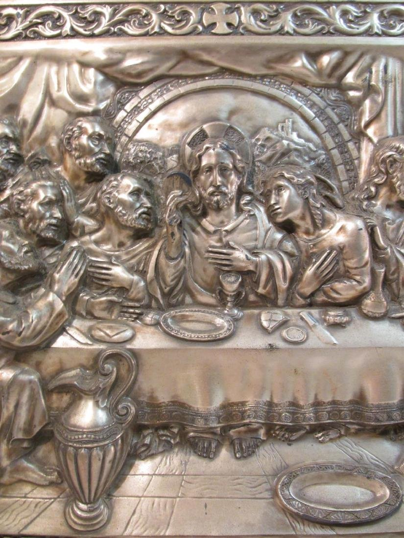 VINTAGE RELIGIOUS EMBOSSED & SILVER PLATED PLAQUE - 3