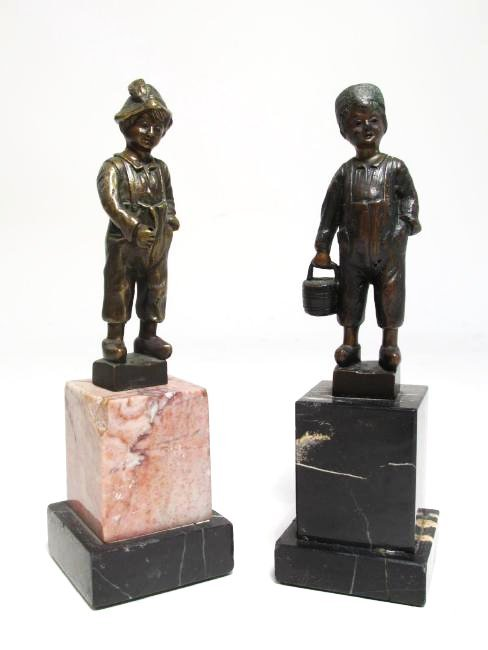 TWO ANTIQUE ERNST BECK MINIATURE BRONZE SCULPTURES