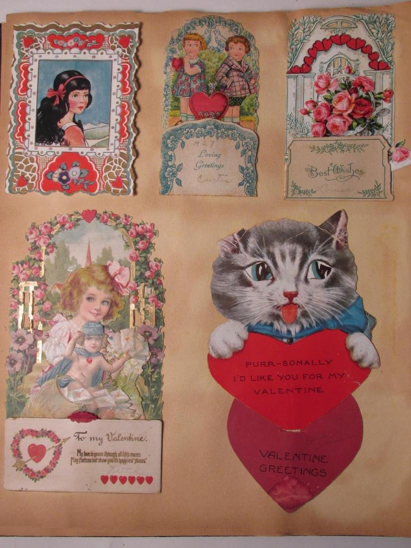 EARLY 20TH CENTURY SCRAPBOOK: VALENTINES, EPHEMERA - 4