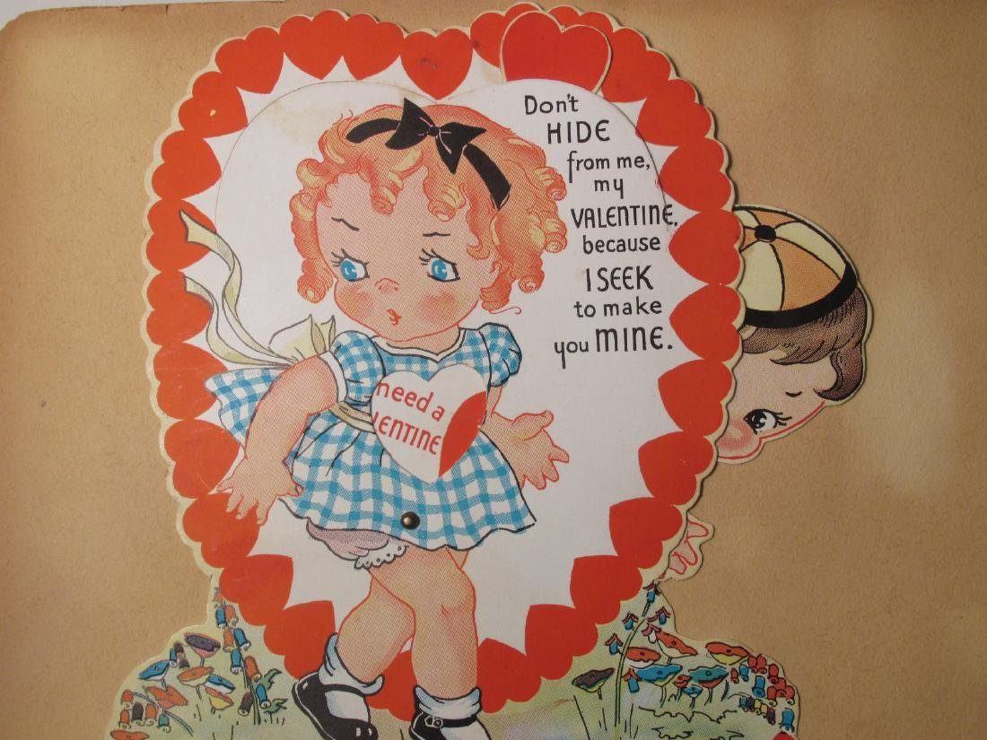 EARLY 20TH CENTURY SCRAPBOOK: VALENTINES, EPHEMERA - 8