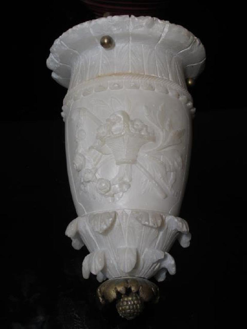 EARLY 20TH C CARVED ALABASTER &BRONZE CEILING LAMP - 2