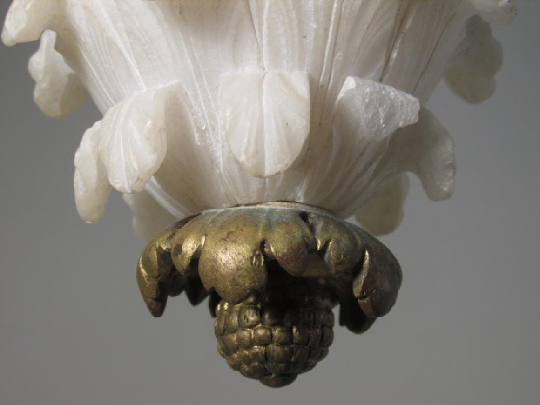 EARLY 20TH C CARVED ALABASTER &BRONZE CEILING LAMP - 3