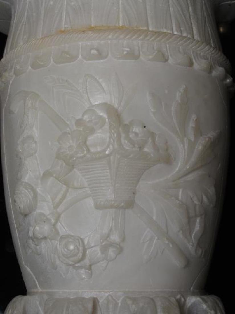 EARLY 20TH C CARVED ALABASTER &BRONZE CEILING LAMP - 4