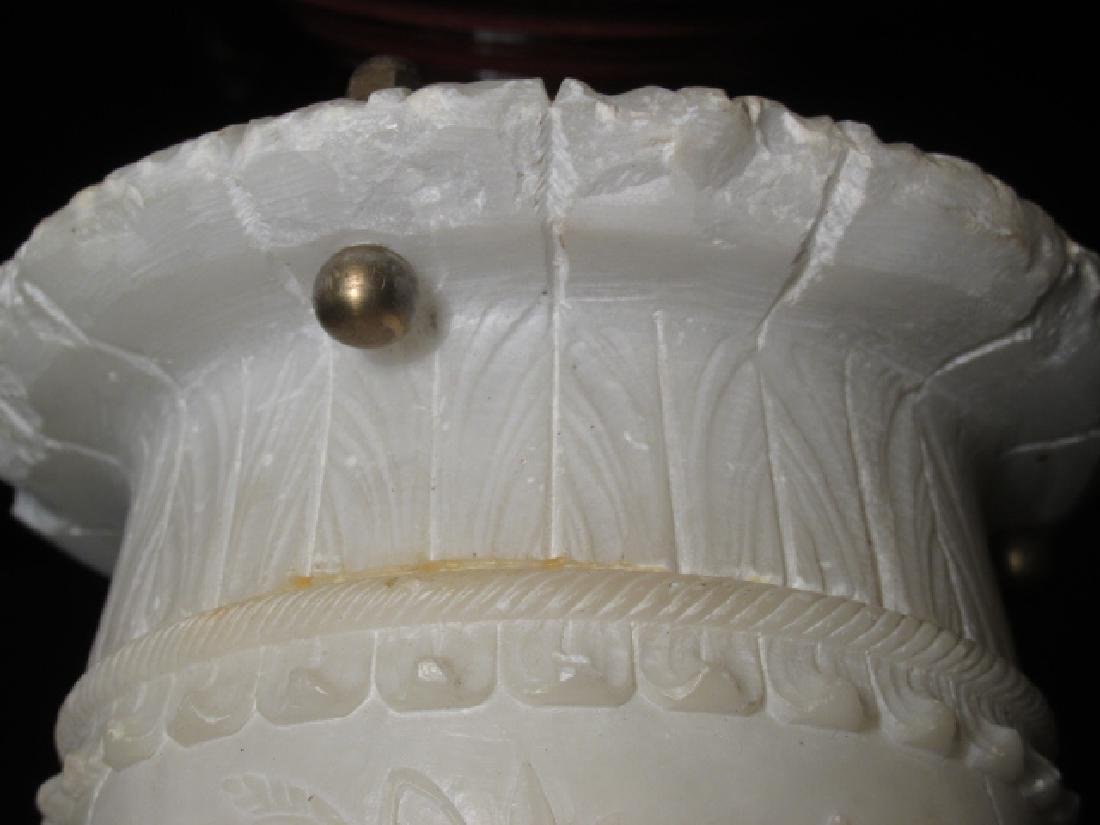 EARLY 20TH C CARVED ALABASTER &BRONZE CEILING LAMP - 5