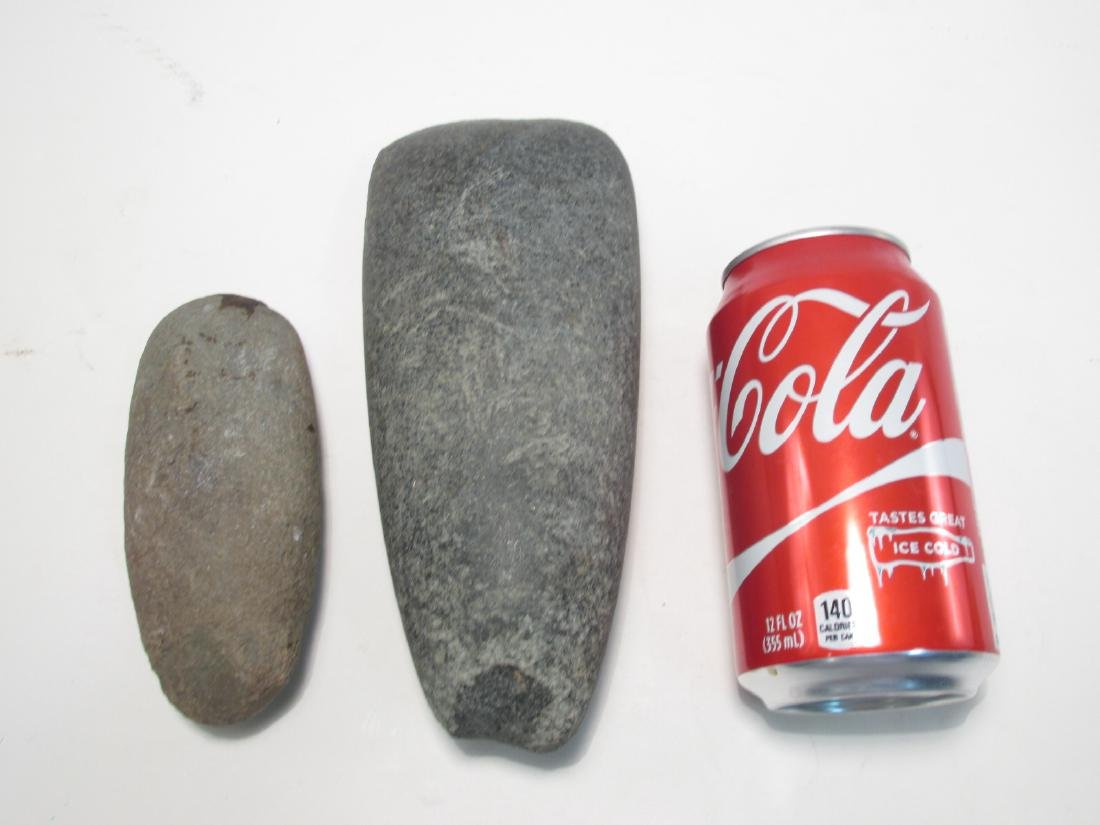 TWO NATIVE AMERICAN STONE AXE HEADS - 8