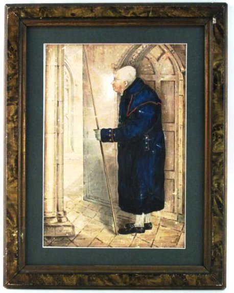 FRAMED EARLY 19TH C PAINTING ON PAPER: NIGHT WATCHMAN