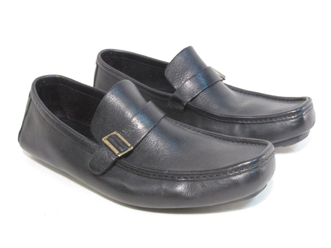 MENS GUCCI BLACK LEATHER BUCKLE LOAFERS
