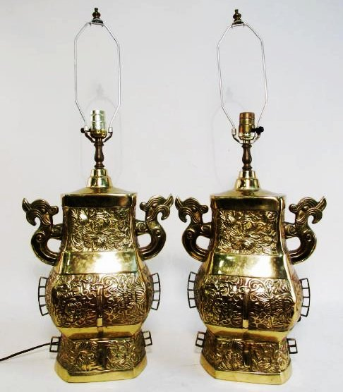 PAIR 20TH CENTURY ASIAN CAST BRASS TABLE LAMPS