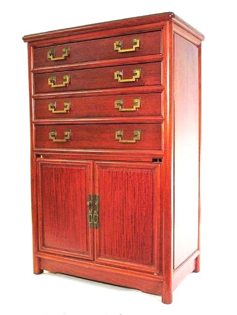GEORGE ZEE CHINESE STYLE MAHOGANY SILVER CHEST
