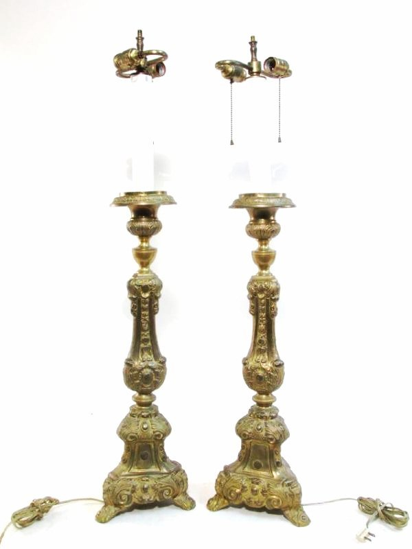 PAIR BRASS ROCOCO STYLE ALTAR CANDLESTICKS AS LAMPS