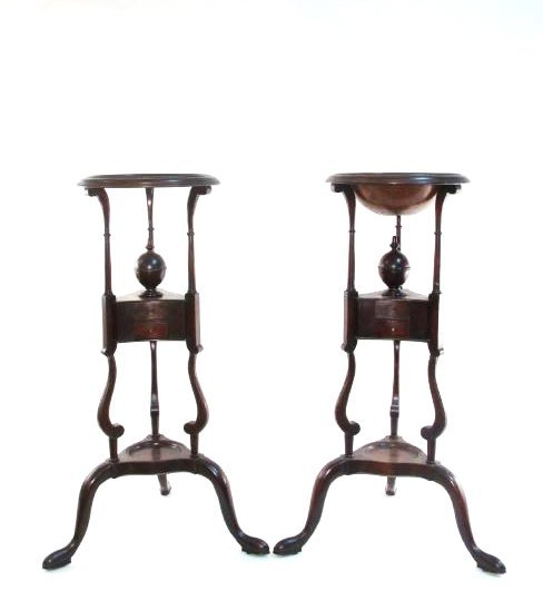 PAIR MID 19TH C QUEEN ANNE STYLE MAHOGANY PLANT STANDS