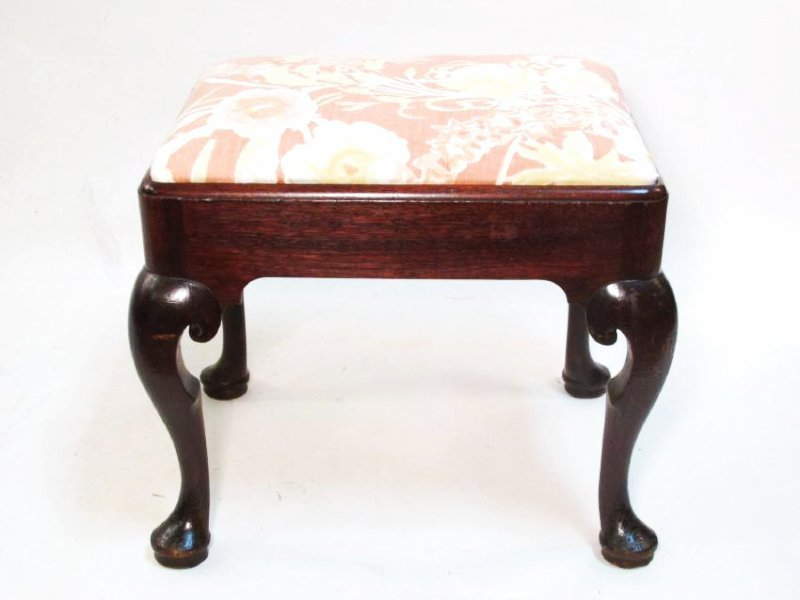19th Century QUEEN ANNE STYLE UPHOLSTERED FOOTSTOOL