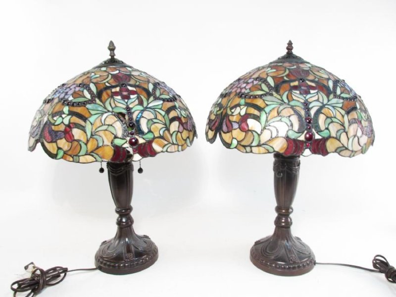 PAIR TIFFANY STYLE LEADED GLASS TABLE LAMPS