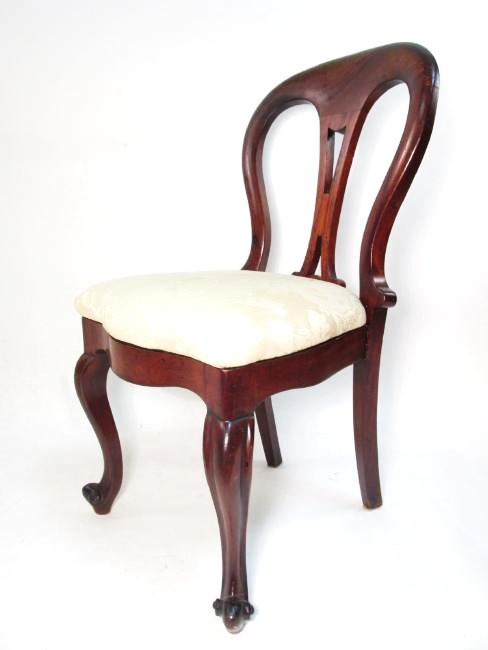 MID 19TH C VICTORIAN BALLOON BACK SIDE CHAIR