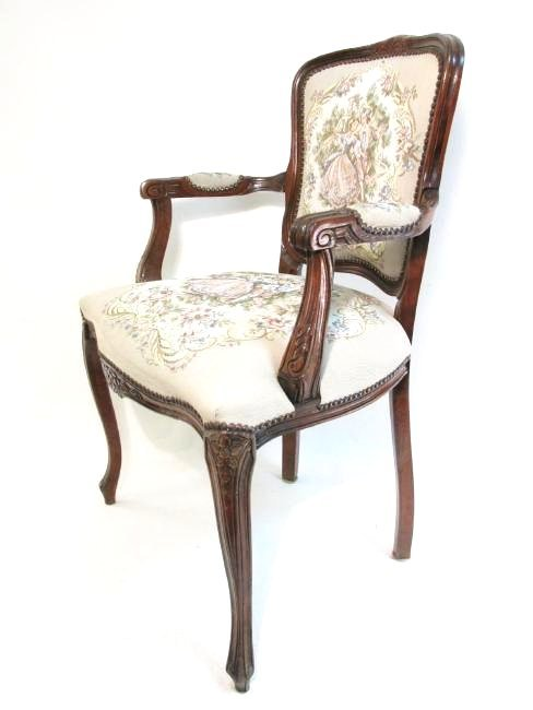 TAPESTRY UPHOLSTERED ROCOCO STYLE ARMCHAIR