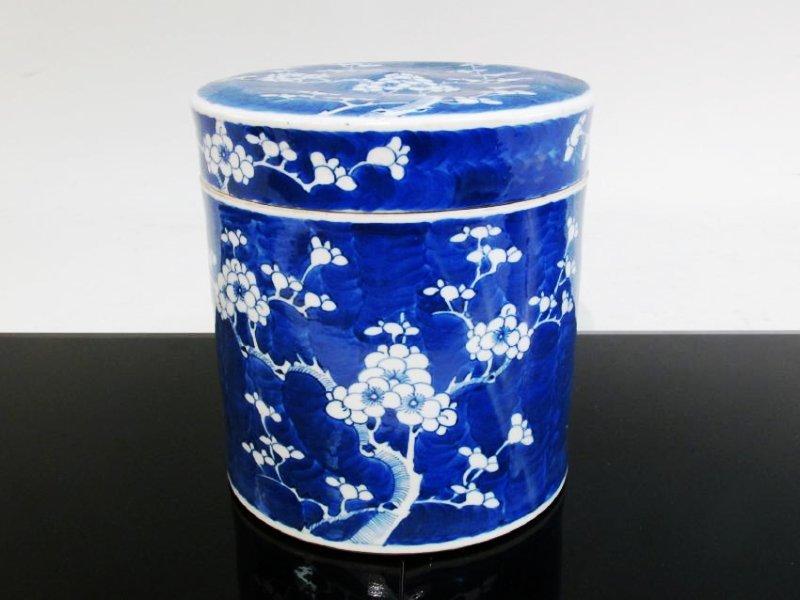 CHINESE QING DYNASTY PORCELAIN PRUNUS CYLIDER JAR