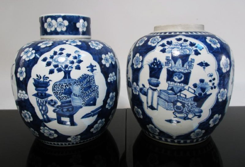 TWO CHINESE QING DYNASTY PORCELAIN GINGER JARS