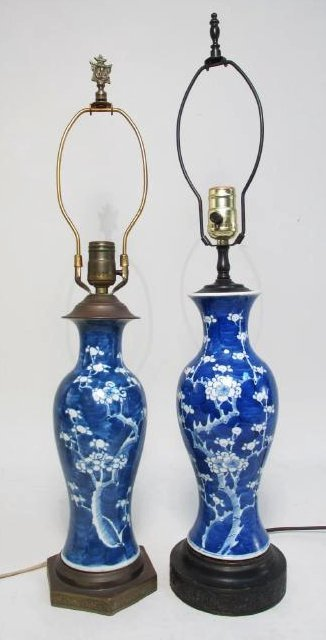 TWO VINTAGE CHINESE PRUNUS VASE LAMPS