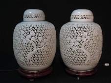 PAIR VINTAGE CHINESE RETICULATED CERAMIC LAMPS