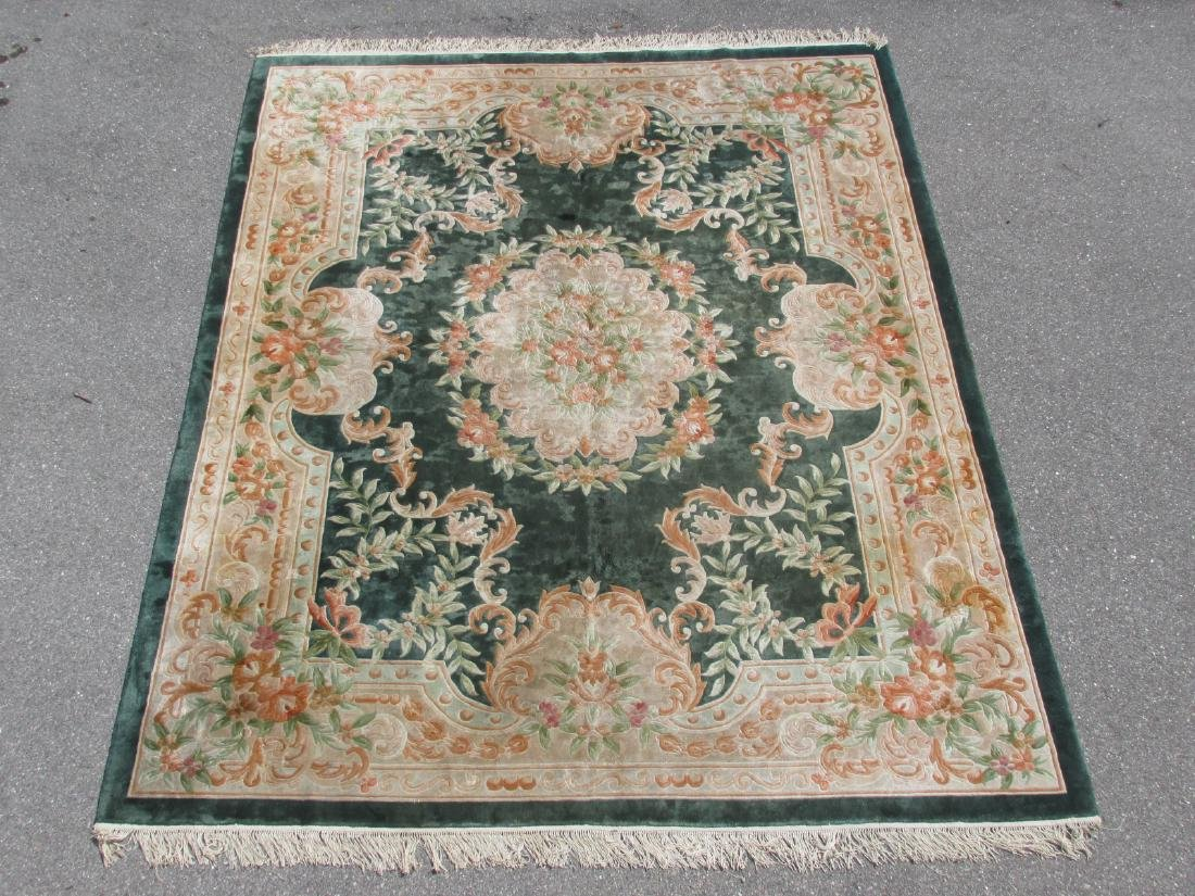 """CHINESE HAND KNOTTED & CARVED SILK RUG 7'9"""" x 9'8"""""""
