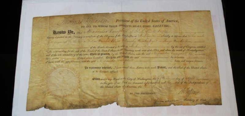 1806 LAND DEED SIGNED TH. JEFFERSON & J. MADISON