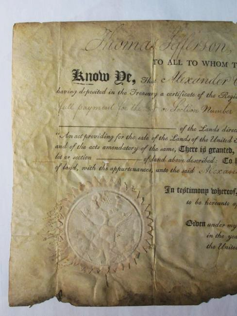 1806 LAND DEED SIGNED TH. JEFFERSON & J. MADISON - 2