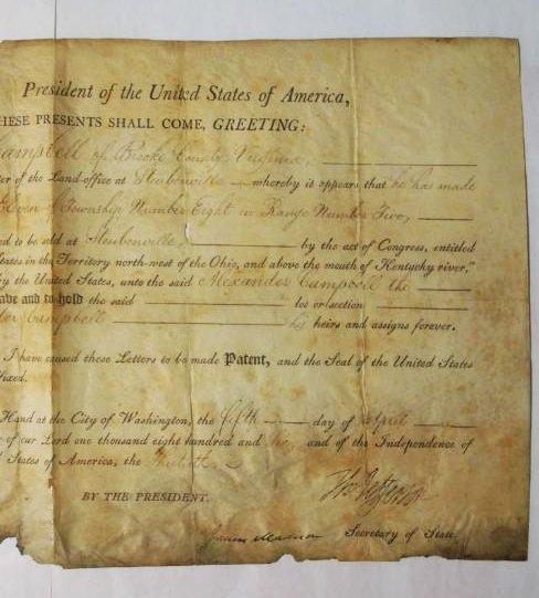 1806 LAND DEED SIGNED TH. JEFFERSON & J. MADISON - 3