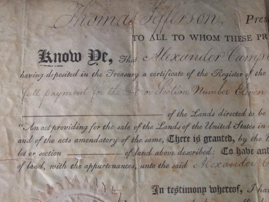 1806 LAND DEED SIGNED TH. JEFFERSON & J. MADISON - 4
