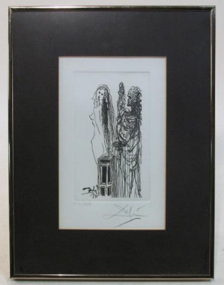 SALVADOR DALI HAND SIGNED ETCHING: NUDE WOMAN