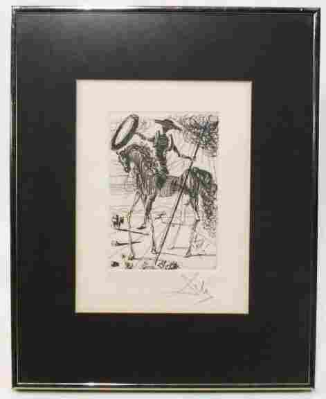 "SALVADOR DALI HAND SIGNED ETCHING ""DON QUIXOTE"""