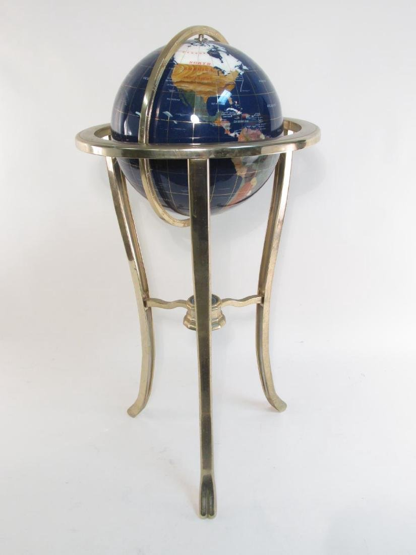 GEMSTONE WORLD GLOBE ON BRASS FLOOR STAND
