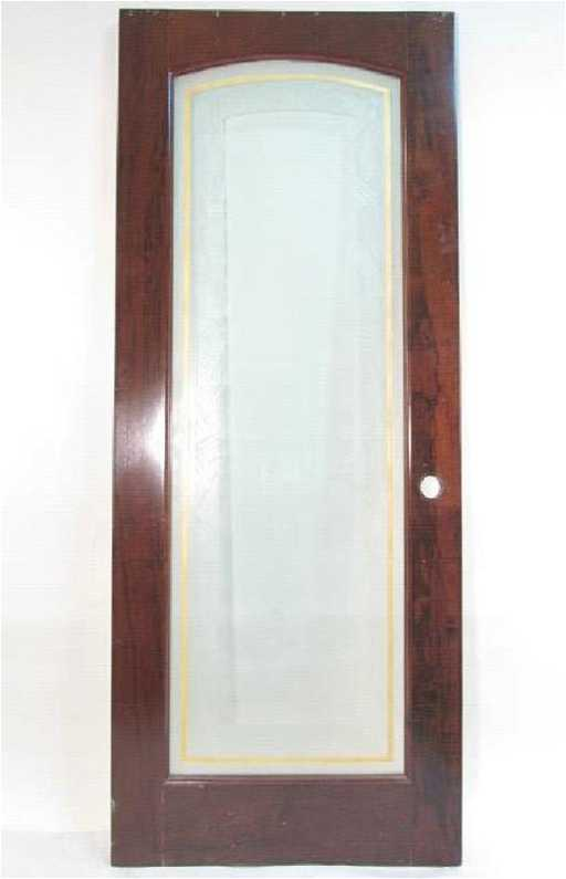 Vintage Art Deco Wood Glass Door