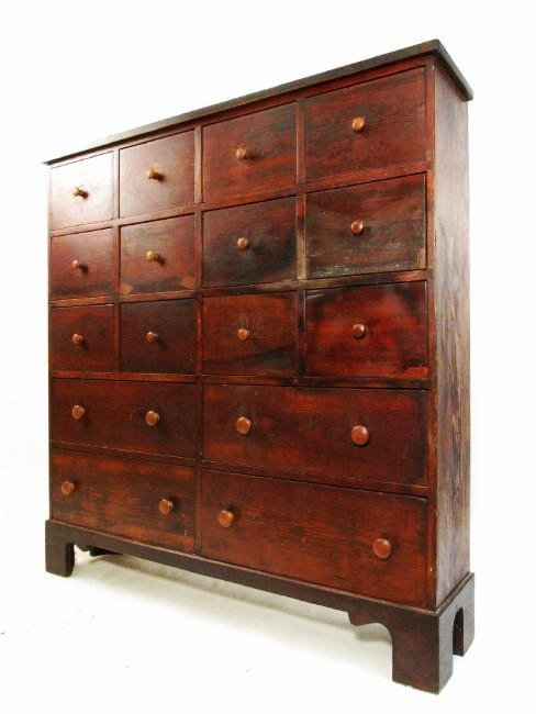 ANTIQUE PINE APOTHECARY STYLE CHEST OF DRAWERS