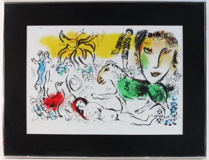 """MARC CHAGALL FRAMED LITHOGRAPH """"HOMECOMING"""""""