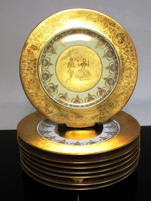 EIGHT STW BARAVIA GILDED PORCELAIN CABINET PLATES