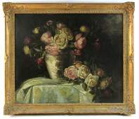 19TH C OIL ON CANVAS FLORAL NATURA MORTE PAINTING