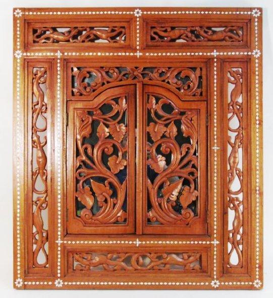 INDONESIAN CARVED TEAKWOOD WINDOW FRAMED MIRROR