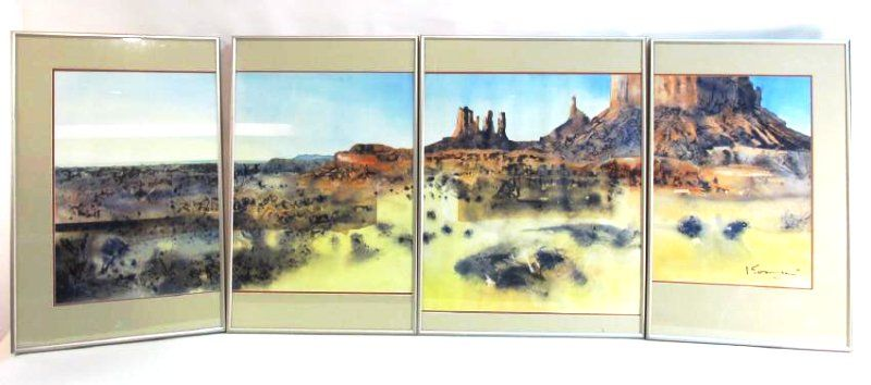 LARGE FRAMED WATERCOLOR QUADRIPTYCH MONUMENT VALLE