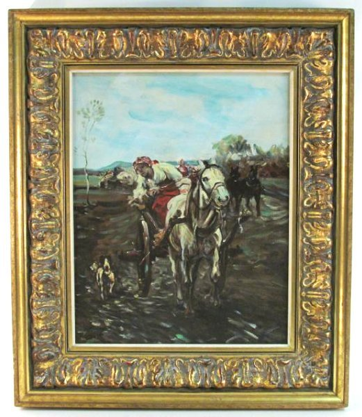 FRAMED OIL ON CANVAS PAINTING: WOMAN W/ HORSE