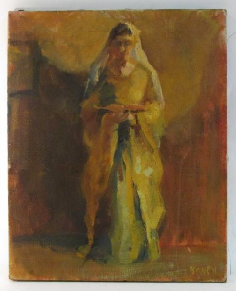 VINTAGE OIL ON CANVAS PAINTING OF A NUN