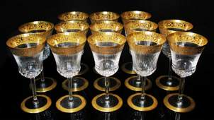 """ST. LOUIS """"THISTLE"""" GILT CRYSTAL WATER GOBLETS 13P"""