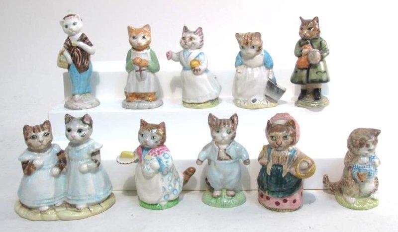 TEN BEATRIX POTTER PORCELAIN CAT FIGURINES SIMPKIN