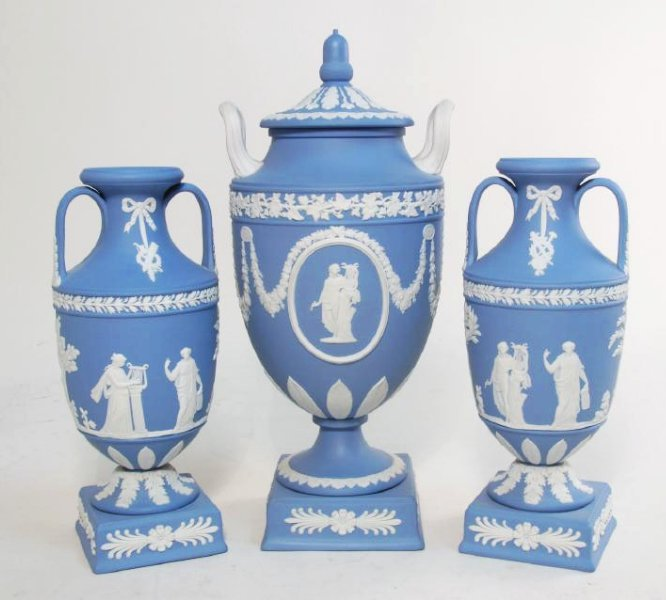 THREE WEDGWOOD BLUE JASPERWARE URNS