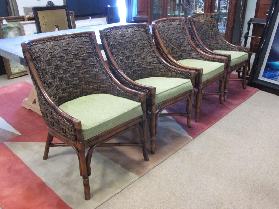 FOUR BENT CANE & WOVEN RUSH SIDE CHAIRS