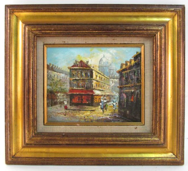SMALL FRENCH STYLE OIL ON CANVAS PAINTING