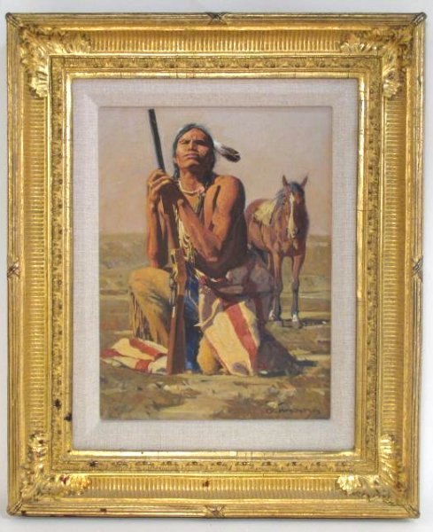 DAVID MANN OIL ON CANVAS PAINTING: NATIVE AMERICAN
