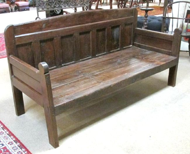 LARGE 19TH C CARVED OAK BENCH OR DAYBED