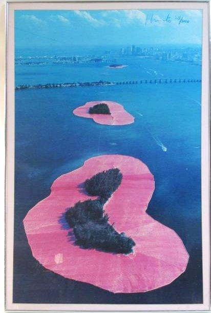 SIGNED CHRISTO & JEAN-CLAUDE POSTER SURROUND ISLAN